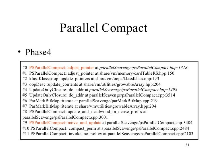 Parallel Compact <ul><li>Phase4 </li></ul>#0  PSParallelCompact::adjust_pointer  at  parallelScavenge/psParallelCompact.hp...