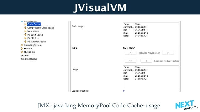 JVisualVM JMX : java.lang.MemoryPool.Code Cache::usage