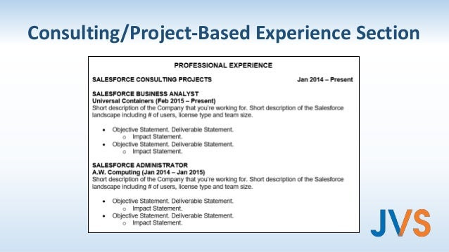 consultingproject based experience section
