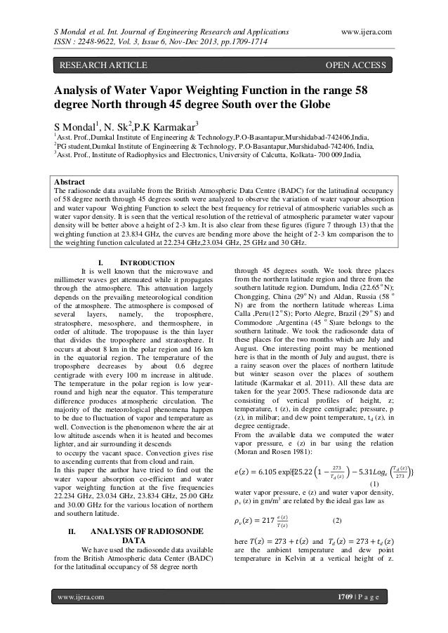 S Mondal et al. Int. Journal of Engineering Research and Applications ISSN : 2248-9622, Vol. 3, Issue 6, Nov-Dec 2013, pp....