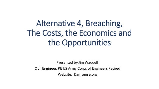 Alternative 4, Breaching, The Costs, the Economics and the Opportunities Presented by Jim Waddell Civil Engineer, PE US Ar...