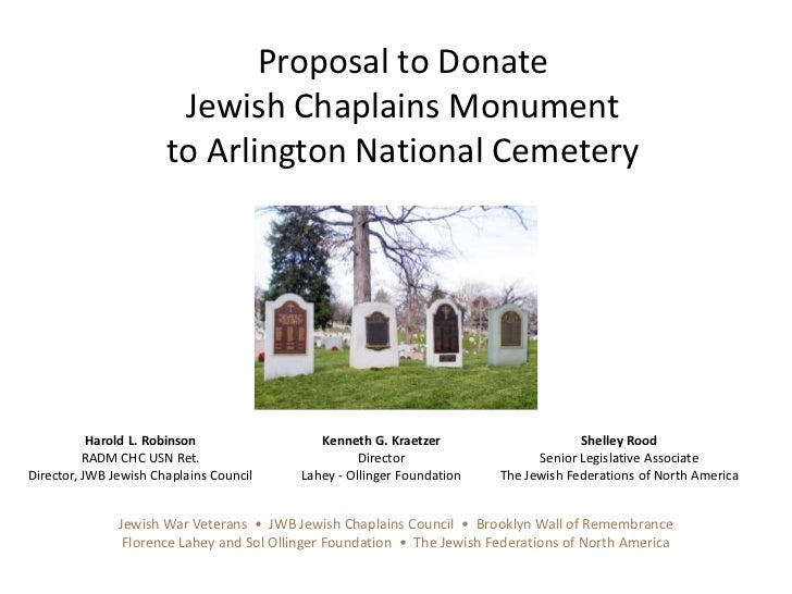 Proposal to Donate <br />Jewish Chaplains Monument <br />to Arlington National Cemetery<br />Harold L. Robinson<br />RADM ...