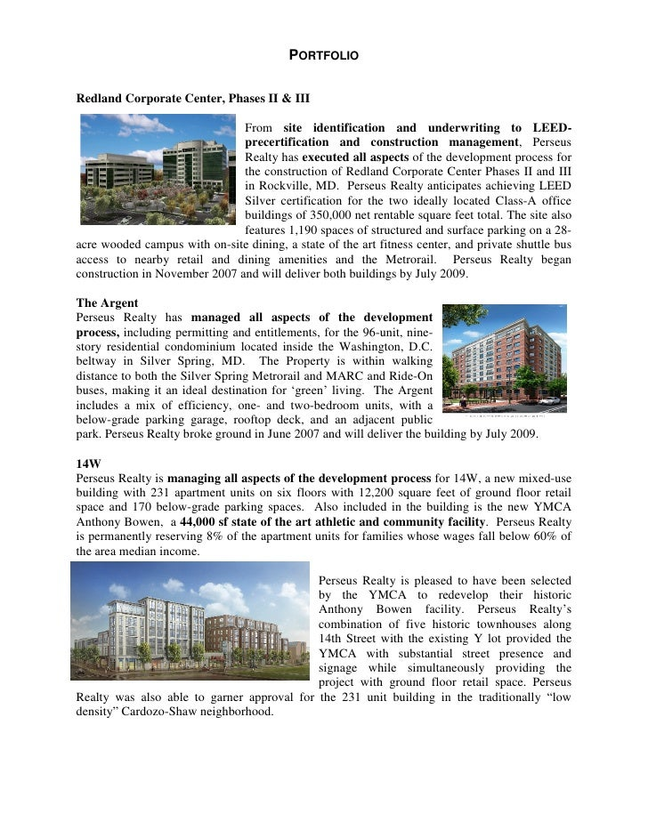 PORTFOLIORedland Corporate Center, Phases II & III                               From site identification and underwriting...