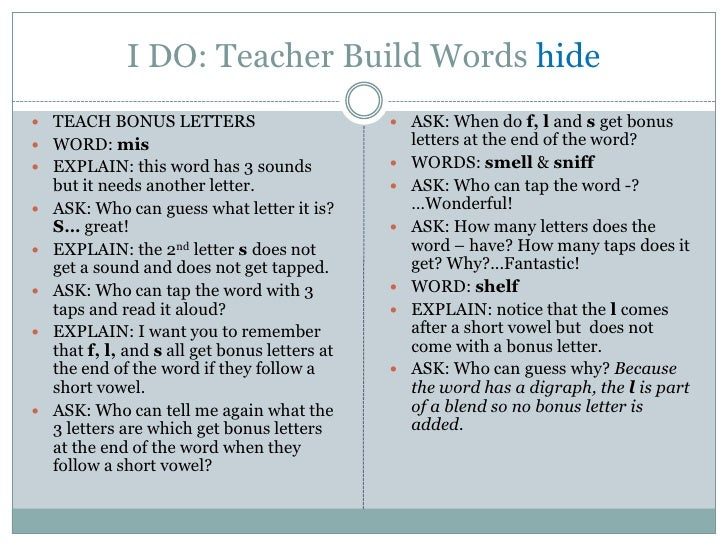 I DO: Teacher Build Words hide TEACH BONUS LETTERS                            ASK: When do f, l and s get bonus WORD: m...