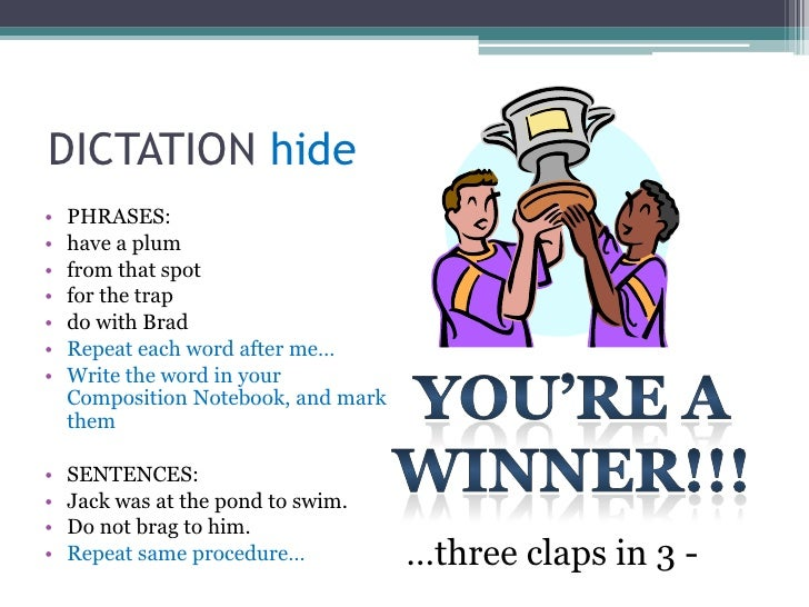 DICTATION hide<br />Now, get your Composition Books<br />There are days that we will be doing dictation, and you are expec...