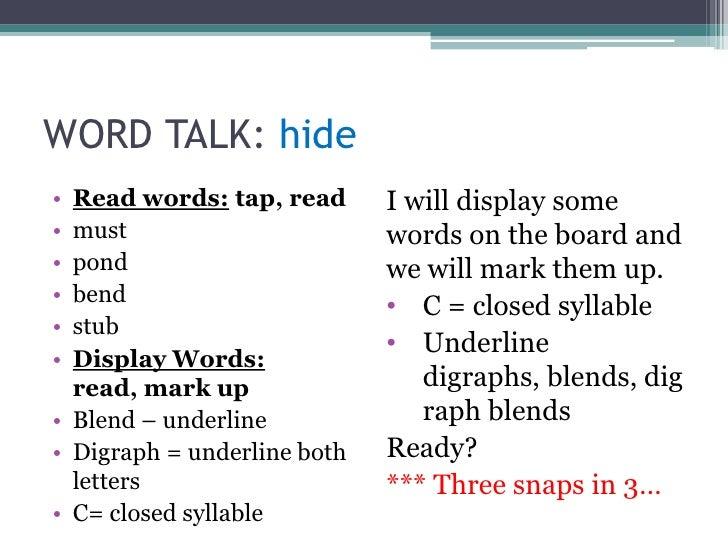 WORD TALK: hide<br />Read words: tap, read<br />must<br />pond<br />bend<br />stub<br />Display Words: read, mark up<br />...