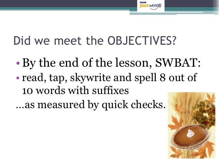 Did we meet the OBJECTIVES?• By the end of the lesson, SWBAT:• read, tap, skywrite and spell 8 out of  10 words with suffi...