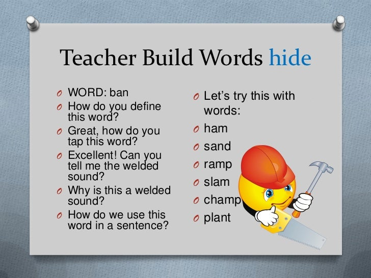Teacher Build Words hideO WORD: ban                O Let's try this withO How do you define    this word?                 ...