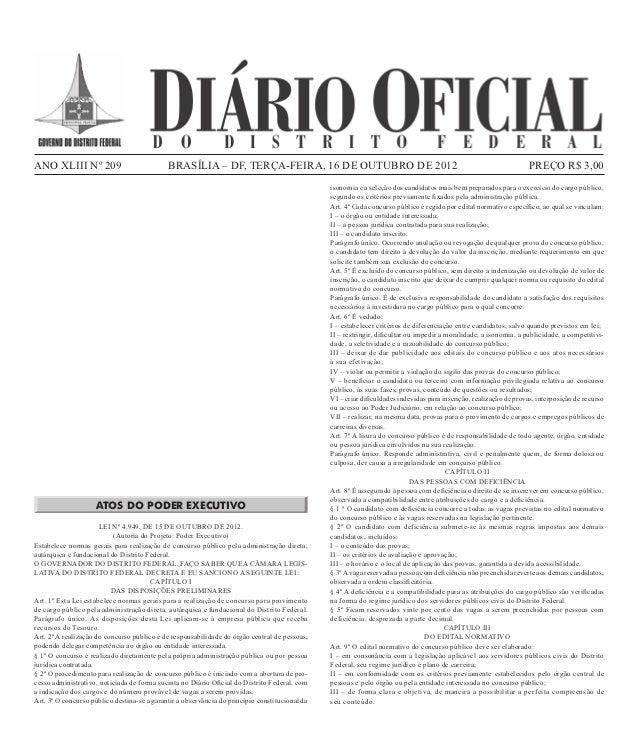 ANO XLIII Nº 209                                                    BRASÍLIA – DF, terça-FEIRA, 16 De outubro DE 2012     ...