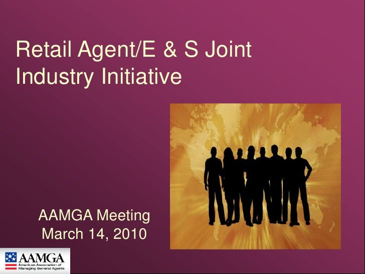 Retail Agent/E & S Joint Industry Initiative  <br />AAMGA Meeting<br />March 14, 2010<br />