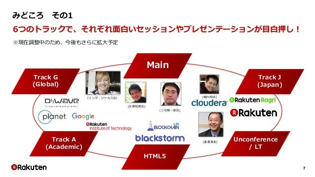 7 みどころ その1 6つのトラックで、それぞれ面白いセッションやプレゼンテーションが目白押し! ※現在調整中のため、今後もさらに拡大予定 Track J (Japan) Track G (Global) Track A (Academic) ...