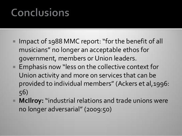 """ Impact of 1988 MMC report: """"for the benefit of all musicians"""" no longer an acceptable ethos for government, members or U..."""