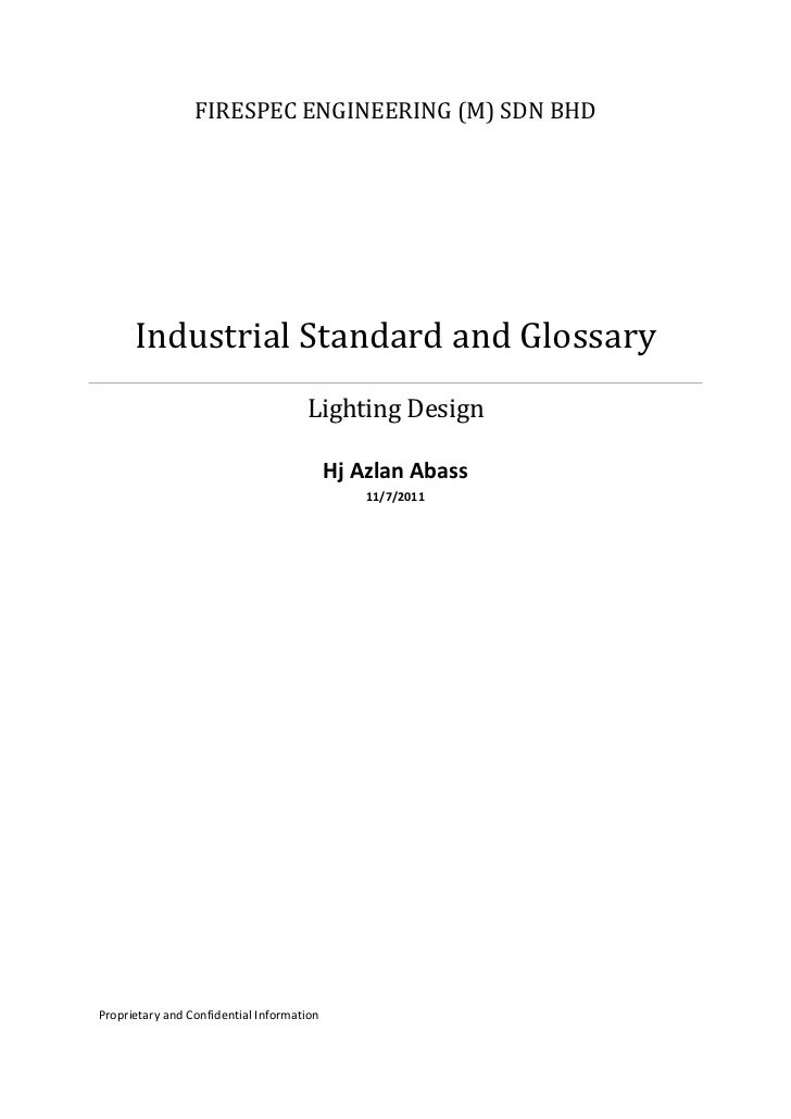 FIRESPEC ENGINEERING (M) SDN BHD      Industrial Standard and Glossary                                     Lighting Design...
