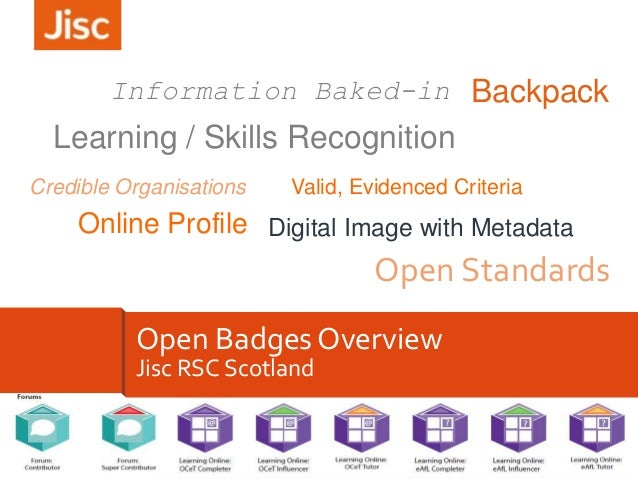 Information Baked-in Backpack  Learning / Skills Recognition Credible Organisations  Valid, Evidenced Criteria  Online Pro...