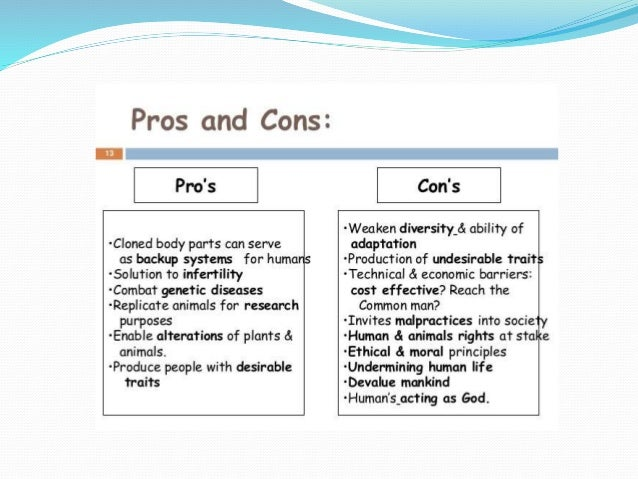 human cloning pros and cons pdf