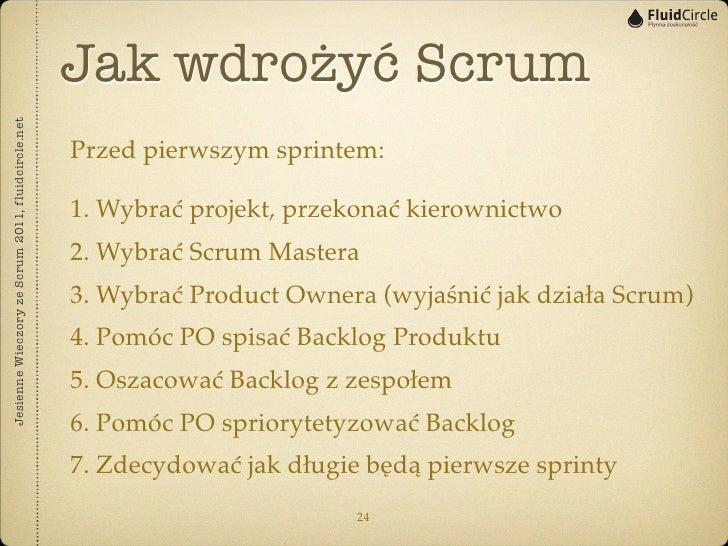 Jak wdrożyć ScrumJesienne Wieczory ze Scrum 2011, fluidcircle.net                                                   Przed ...
