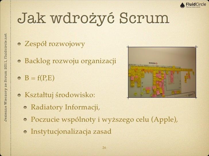 Jak wdrożyć ScrumJesienne Wieczory ze Scrum 2011, fluidcircle.net                                                   Zespół...