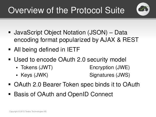 Overview of the Protocol Suite JavaScript Object Notation (JSON) – Data  encoding format popularized by AJAX & REST All ...