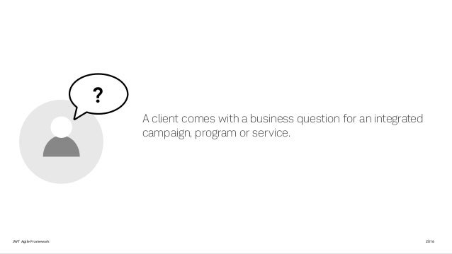 ? A client comes with a business question for an integrated campaign, program or service. JWT Agile Framework 2016