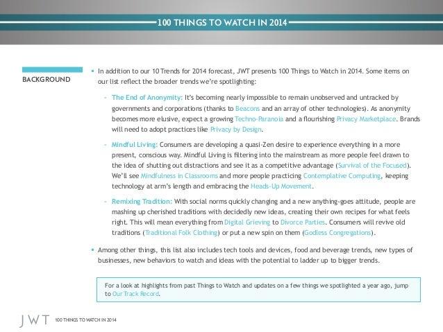 JWT: 100 Things to Watch in 2014 Slide 2