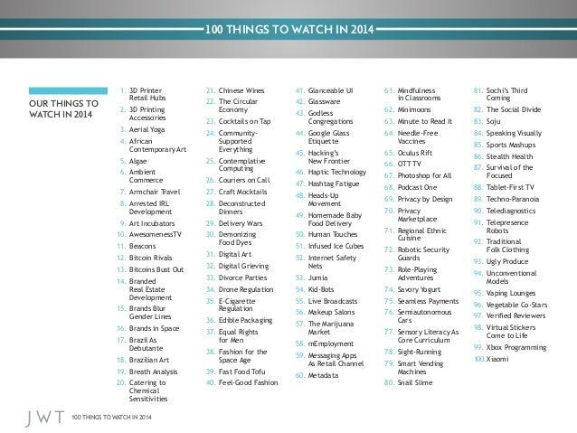 JWT: 100 Things to Watch in 2014 Slide 3
