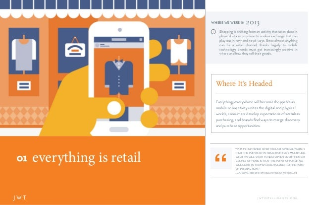 everything is retail01 J W T J W T I N T E L L I G E N C E . C O M J Shopping is shifting from an activity that takes plac...