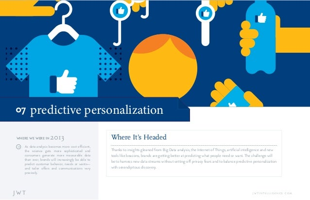 predictive personalization07 J W T J W T I N T E L L I G E N C E . C O M Where It's Headed Thanks to insights gleaned from...