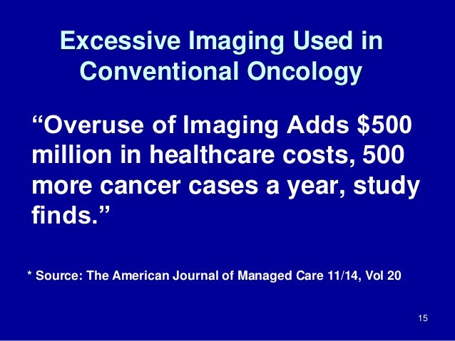 """Excessive Imaging Used in Conventional Oncology """"Overuse of Imaging Adds $500 million in healthcare costs, 500 more cancer..."""
