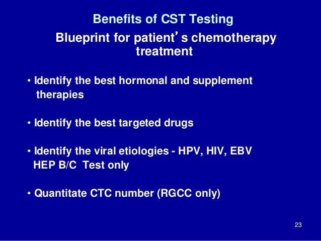 Benefits of CST Testing Blueprint for patient's chemotherapy treatment • Identify the best hormonal and supplement therapi...