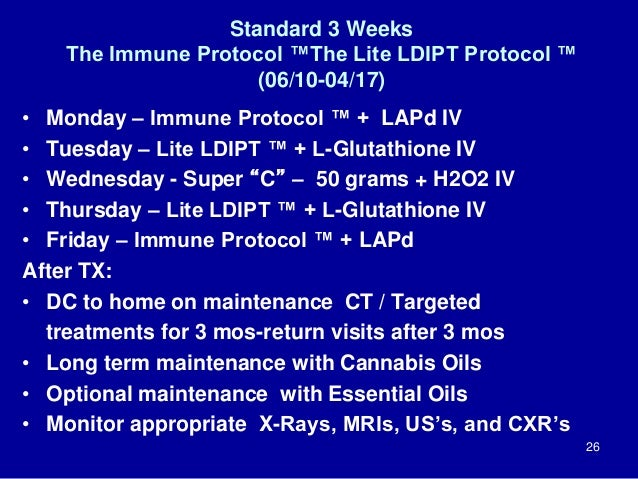Standard 3 Weeks The Immune Protocol ™The Lite LDIPT Protocol ™ (06/10-04/17) • Monday – Immune Protocol ™ + LAPd IV • Tue...