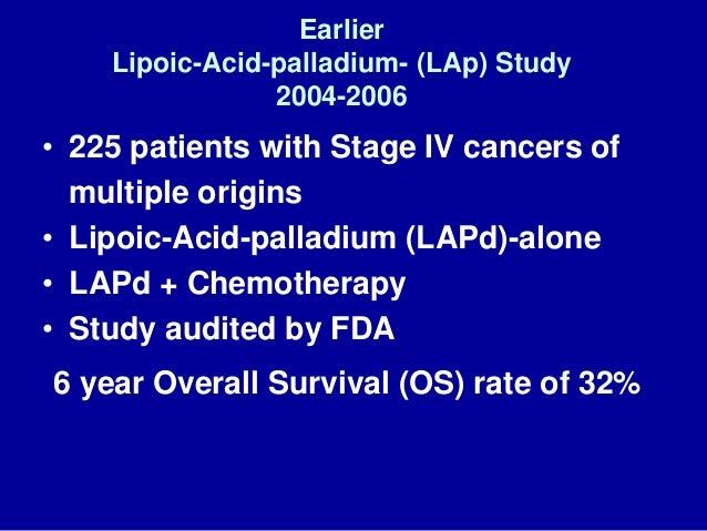 Earlier Lipoic-Acid-palladium- (LAp) Study 2004-2006 • 225 patients with Stage IV cancers of multiple origins • Lipoic-Aci...