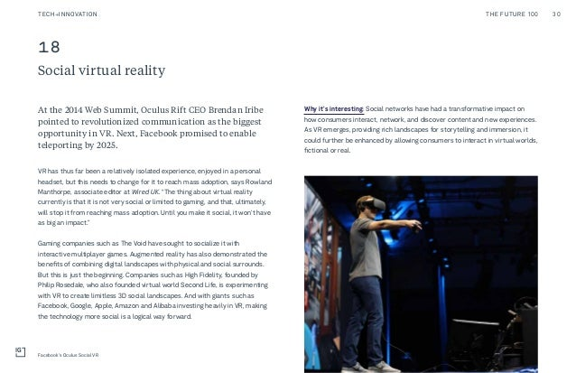 18 Social virtual reality Why it's interesting: Social networks have had a transformative impact on how consumers interact...