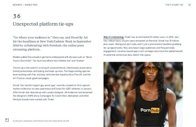 36 Unexpected platform tie-ups Why it's interesting: Tinder has an estimated 50 million users. In 2015, over four million ...