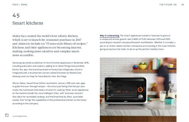 45 Smart kitchens Why it's interesting: The smart appliances market is forecast to grow at a compound annual growth rate (...
