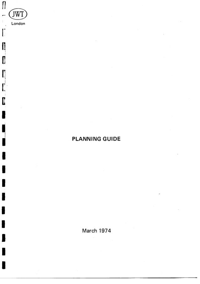 Stephen King, JWT Planning Guide, March 1974
