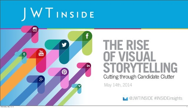 THE RISE OF VISUAL STORYTELLING May 14th, 2014 Cutting through Candidate Clutter @JWTINSIDE #INSIDEinsights 1Wednesday, Ma...