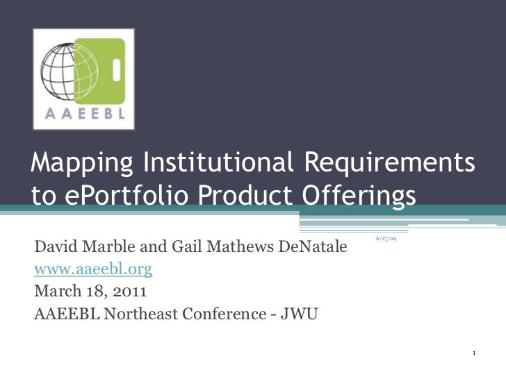1<br />Mapping Institutional Requirements to ePortfolio Product Offerings<br />6/17/09<br />David Marble and Gail Mathews ...