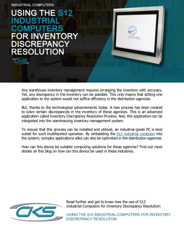 using the s12 industrial computers for inventory discrepancy resoluti