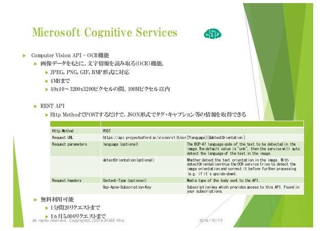Microsoft Cognitive Services u Computer Vision API – OCR機能 u 画像データをもとに、文字情報を読み取る(OCR)機能。 u JPEG, PNG, GIF, BMP形式に対応 u 4MBま...