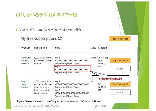 (1)しゃべるデジカメ スマフォ版 u Vision API - AnalyzeをXamarin.Formsで使う 2016/10/15All rights reserved. Copyright(C) 2016 AYASE Hiro http...