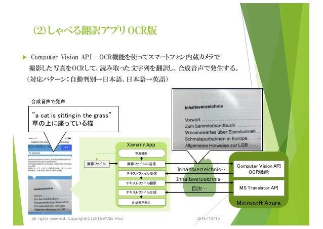 (2)しゃべる翻訳アプリ OCR版 u Computer Vision API – OCR機能を使ってスマートフォン内蔵カメラで 撮影した写真をOCRして、読み取った文字列を翻訳し、合成音声で発生する。 (対応パターン:自動判別→日本語、日本語...