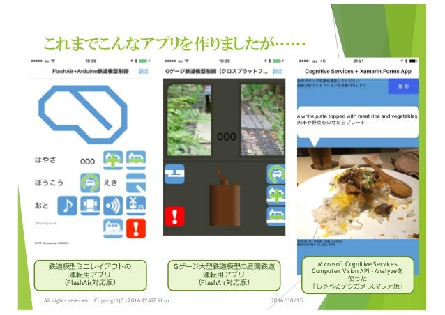 これまでこんなアプリを作りましたが…… 2016/10/15All rights reserved. Copyright(C) 2016 AYASE Hiro 鉄道模型ミニレイアウトの 運転⽤アプリ (FlashAir対応版) Gゲージ⼤型鉄道...