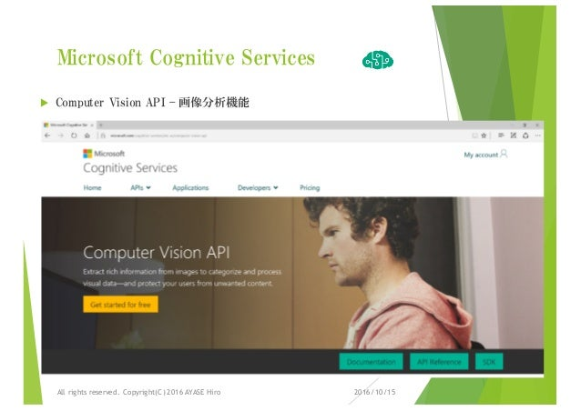 Microsoft Cognitive Services u Computer Vision API – 画像分析機能 2016/10/15All rights reserved. Copyright(C) 2016 AYASE Hiro