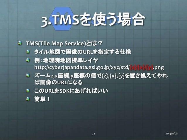 3.TMSを使う場合  TMS(Tile Map Service)とは?  タイル地図で画像のURLを指定する仕様  例:地理院地図標準レイヤ  http://cyberjapandata.gsi.go.jp/xyz/std/{z}/{x}/{...