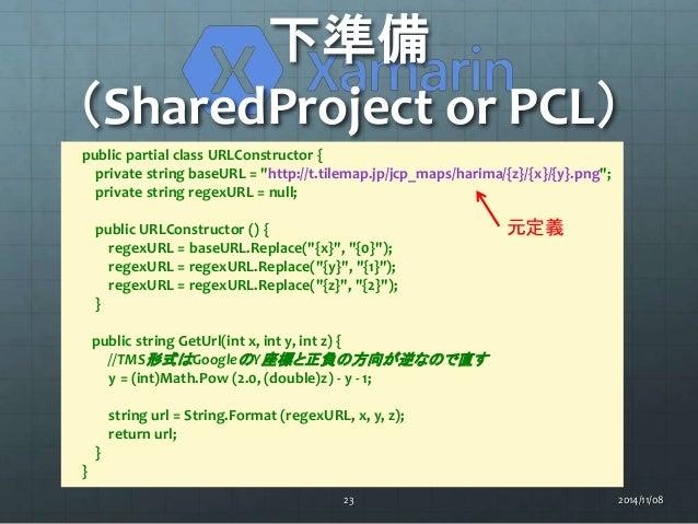 """下準備  (SharedProject or PCL)  public partial class URLConstructor {  private string baseURL = """"http://t.tilemap.jp/jcp_maps..."""
