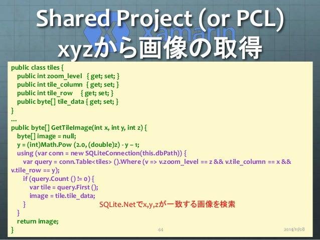 Shared Project (or PCL)  xyzから画像の取得  public class tiles {  public int zoom_level { get; set; }  public int tile_column { g...