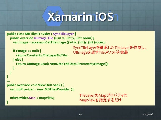 Xamarin iOS  public class MBTilesProvider : SyncTileLayer {  public override UIImage Tile (uint x, uint y, uint zoom) {  v...