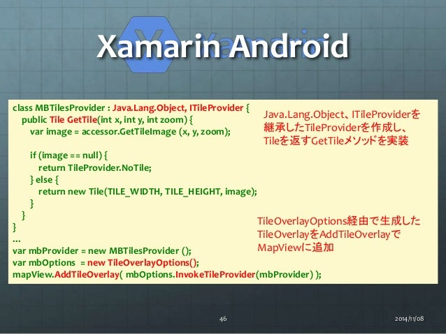 Xamarin Android  class MBTilesProvider : Java.Lang.Object, ITileProvider {  public Tile GetTile(int x, int y, int zoom) { ...