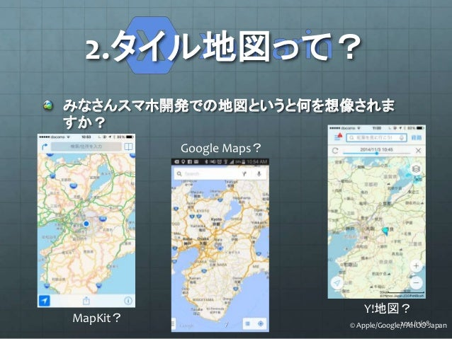 2.タイル地図って?  みなさんスマホ開発での地図というと何を想像されま  すか?  MapKit?  Google Maps?  Y!地図?  7 © Apple/Google/2Y0A14H/1O1/O08 Japan