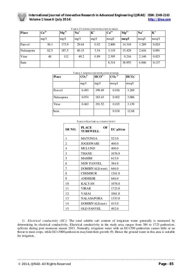 Ground Water Quality Analysis for construction of Part of Mumbai Metropolitan Region (MMR) Slide 3